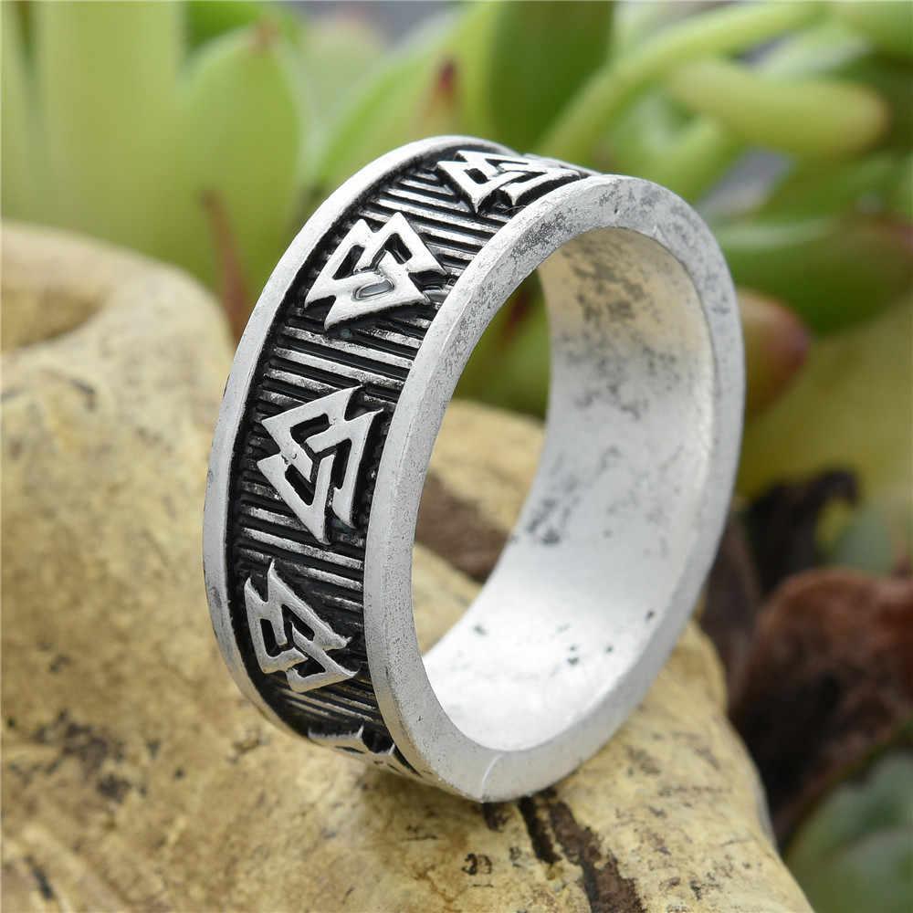 Valknut Rune pierścienie pleciony geometria Nordic pagan biżuteria Drop Shipping 1 pc