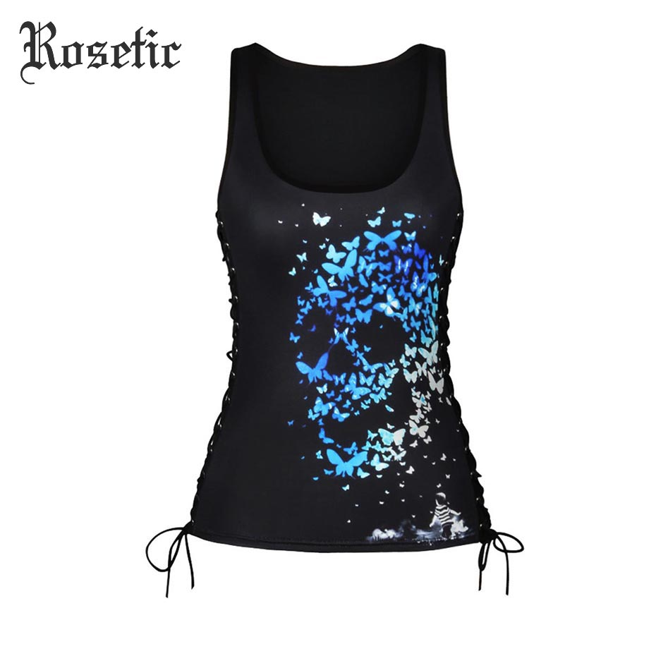 Rosetic Gothic Tank Tops Bandage Women Black Skull I-Shaped Summer Slim Print Fashion Hollow Lace-Up Casual Rock Goth Tank Tops