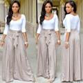 Spring 2 Pcs Women Cloth Set White Sexy Slim O-Neck T-Shirt Plus Grey Loose Long Silk Pant With Sashes and Front Zipper