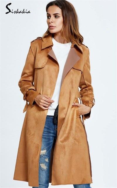 2017 mujeres de la moda trinchera abrigo de invierno rompevientos abrigo largo prendas de vestir exteriores superior femenina arco cinturón de manga larga sólido manto camel