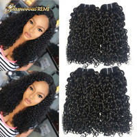 Kinky Curly Funmi Double Drawn Human Hair Weft Pixie Curl Fumi Hair Bundles 1 3 4 PCS Thick End Hair Weave Extensions