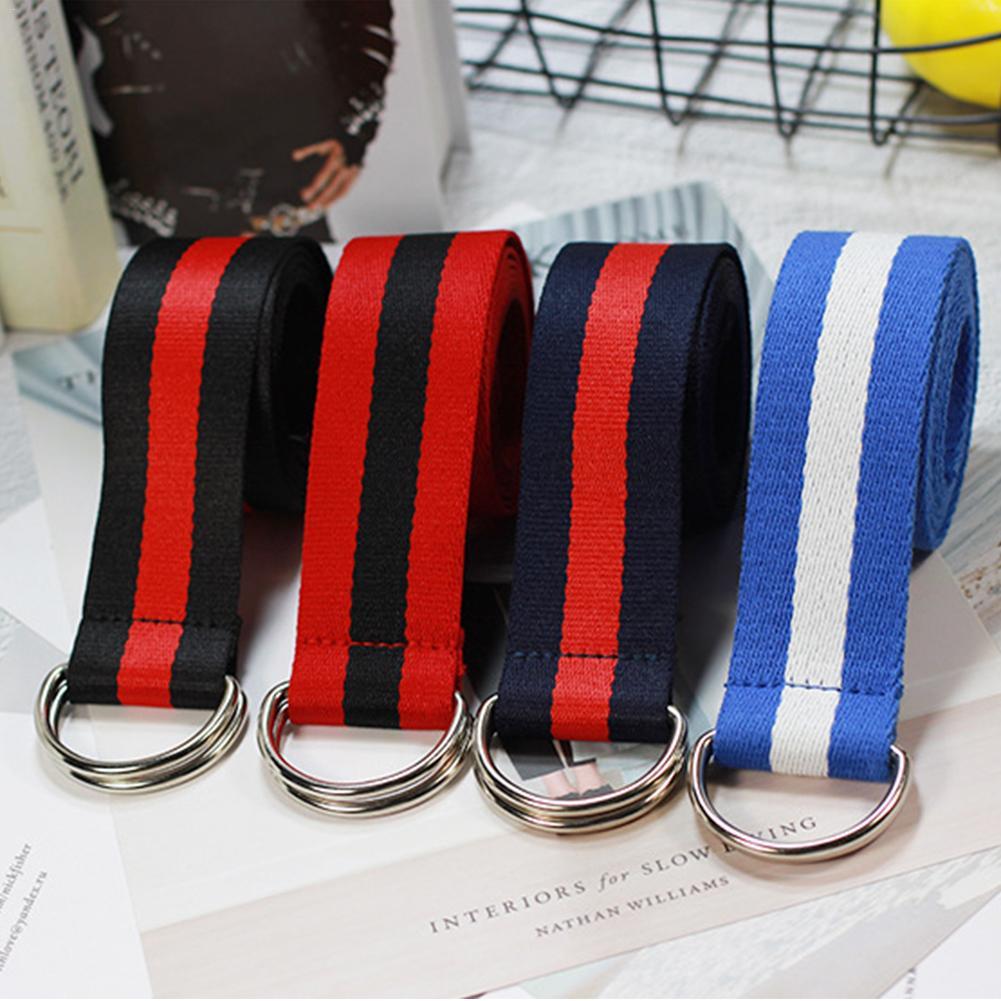 Cinturón de lona para mujeres/hombres colorido rayas Negro doble hebilla cinturón largo/Nailon/vaquero/cinturón femenino 2018 cinturones para mujeres estudiante
