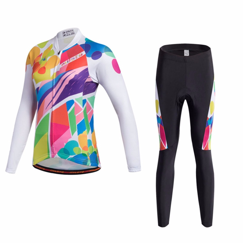 Long Sleeve Womens Cycling Clothing Set 2018 Retro Cycling Jerseys Long Sleeve & MTB Bike Pant Set Reflective XXS-5XL
