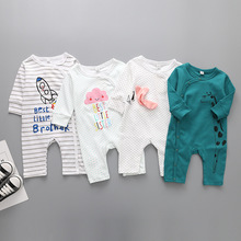 Baby Siamese clothing cotton baby boy girl clothes infant cartoon printing long-sleeved jumpsuit body newborn