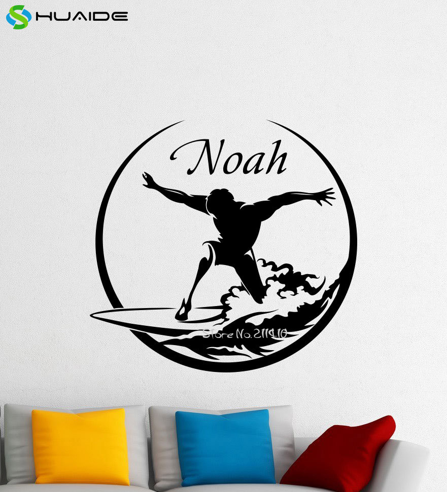 surfer wall mural promotion shop for promotional surfer wall mural personalised name surfing wall vinyl decal sea surfer surf nautical boy custom name sticker poster home kids nursery mural a501