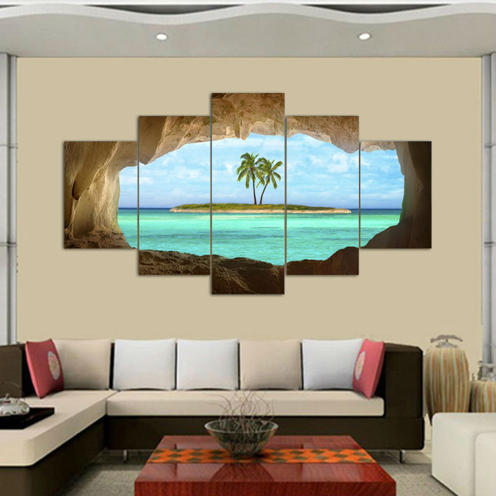 5 pcs azure ocean island palm tree coconut tree seascape for Ocean decorations for home