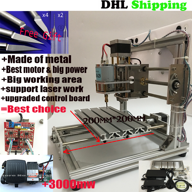 Best Wood Router 2020 support ER11 diy cnc engraving machine+3000mw CNC2020,PCB Milling