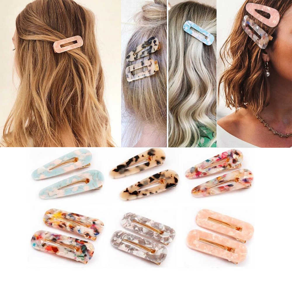 Japanese Style Hair Clips for Girls Water Drop Shape Duckbill Hairgrips Hair Pins Duckbill Leopard Clips Women Hair Styling