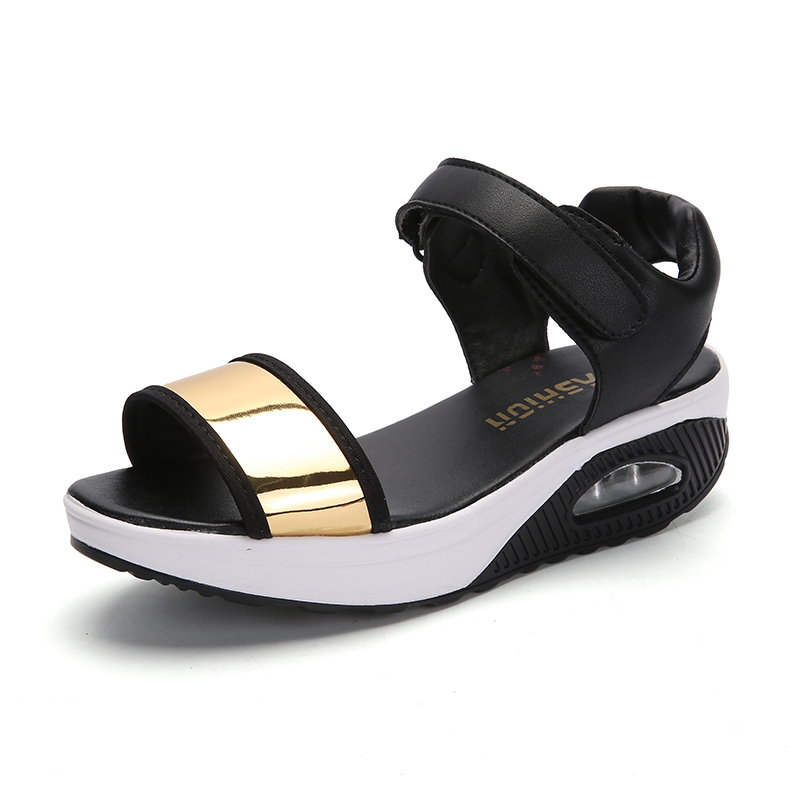 Women's Open Toe Platforms Sandals Summer Soft Walking Sports Sandals Wedges Swing Shoes