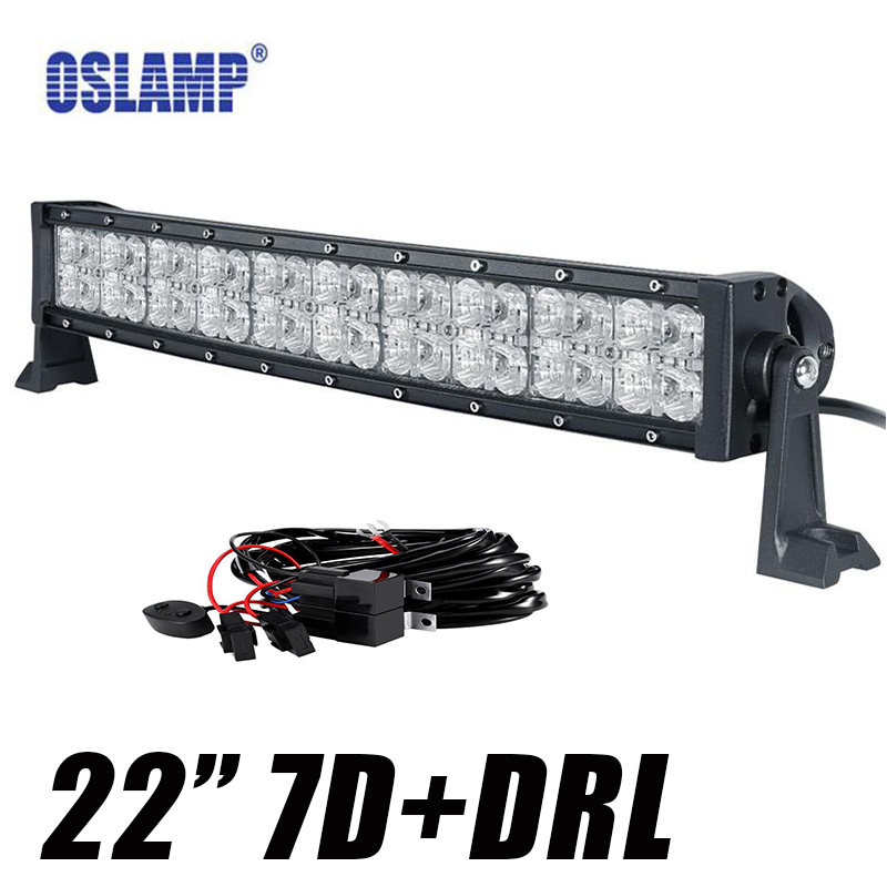 Oslamp 7D Curved LED Light Bar 22inch 200W DRL Spot Flood Beam Offroad 12v 24v Bar Lights for SUV ATV RZV 4x4 4WD Truck Trailer цена