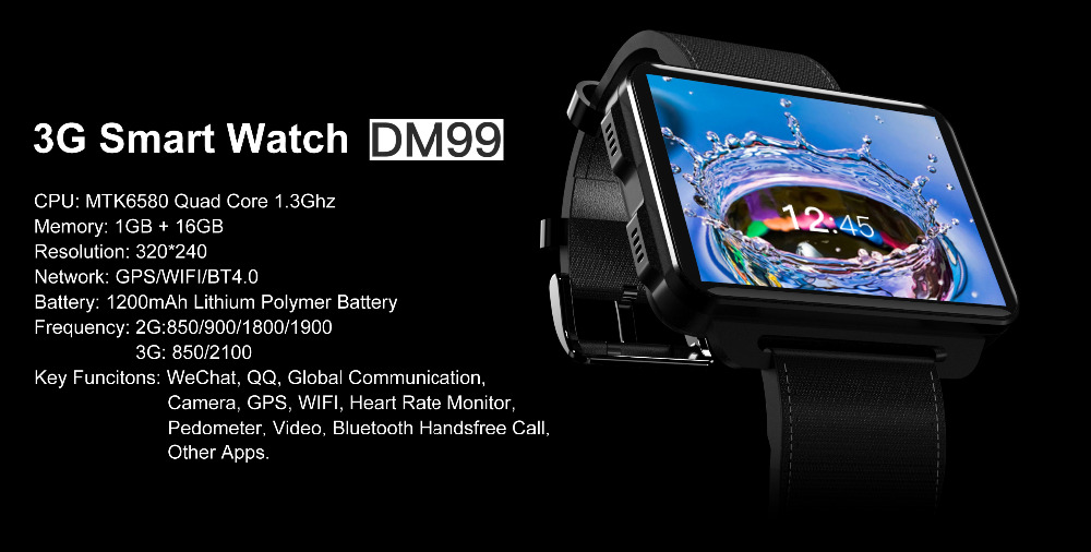 2018 New Arrival Dm99 PK LEM4 Pro Smart Watch Android 5 1 Supper Big Screen  1200 Mah Lithium Battery 1GB 16GB Wifi Take Video