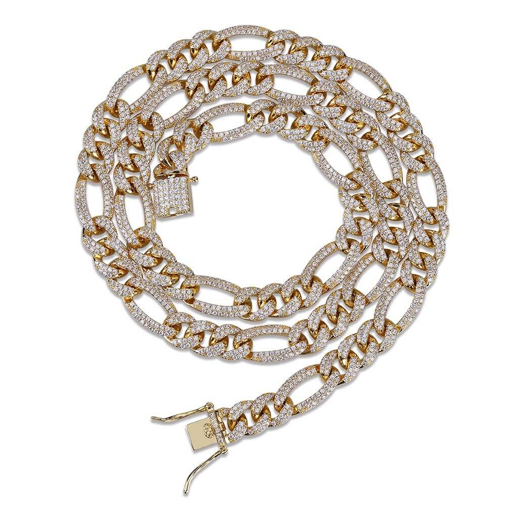 Figaro chaîne Hip Hop glacé plein Cz chaîne cubaine lien Bracelet or argent couleur cubique Zircon Bracelet hommes bijoux cadeaux