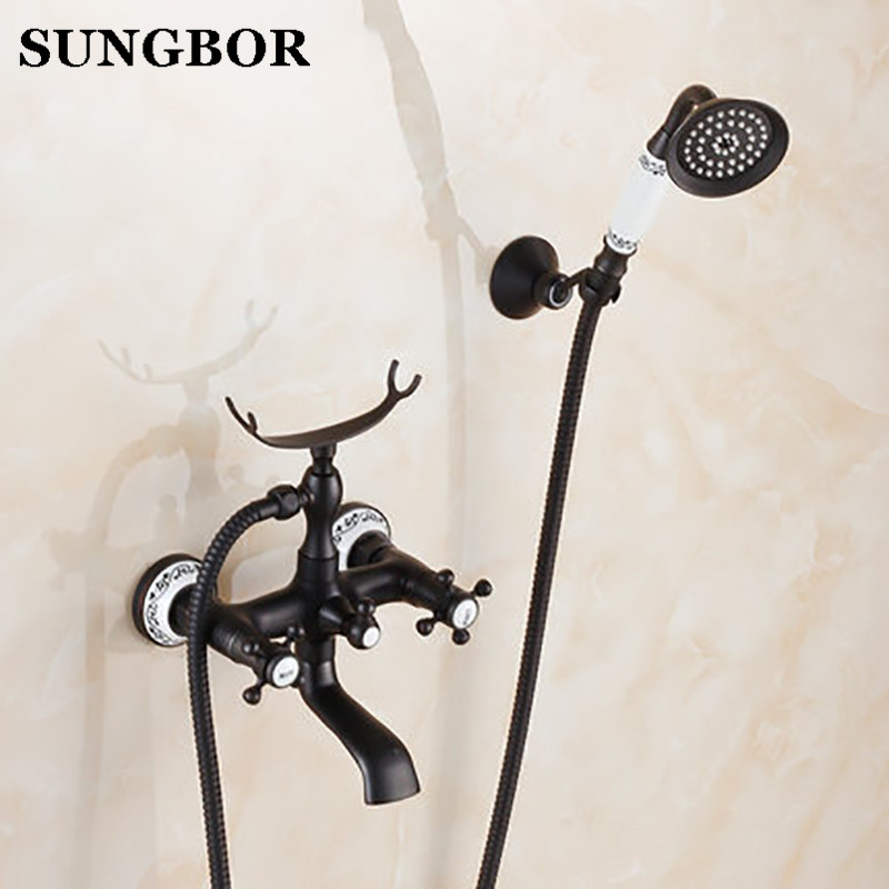 Bath Faucet With Hand Shower Bathroom Shower Tap Black Brone Bath Faucet Shower Mixer Porcelain Shower Faucet Bathroom Telephone Home Improvement Shower Equipment