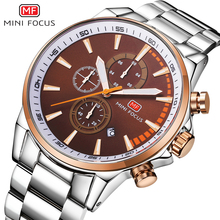 MINIFOCUS New Luxury Fashion Stainless Steel Watch Man Casual Quartz Wristwatch Blue Dial Watches For Male Relogio Masculino