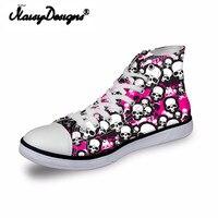 Noisydesigns ladies vintage high top sneakers girls casual vulcanized footwear Women pink white skull 3D print flat canvas shoes