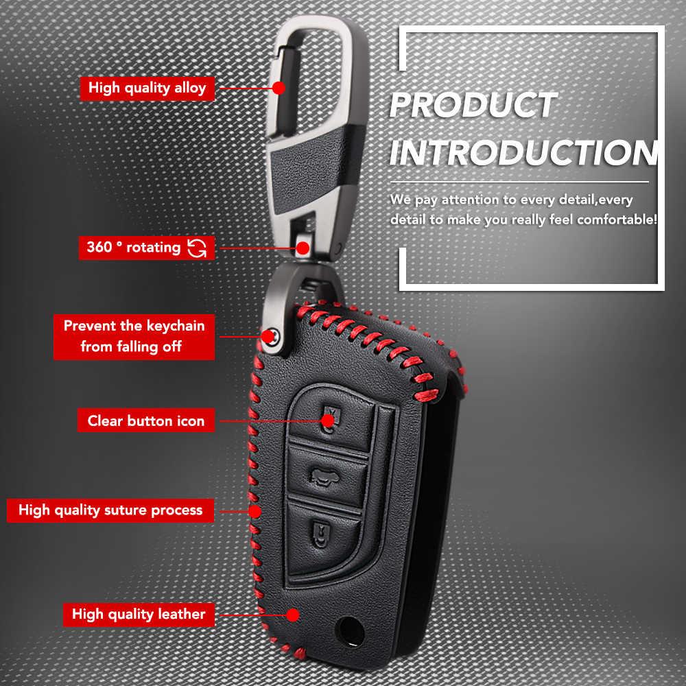 3 nút Leather Xe Từ Xa Key Fob Shell Bìa Trường Hợp Đối Với Toyota Auris Corolla Avensis Verso Yaris Aygo Scion TC IM 2015 2016
