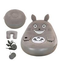Folding Totoro Bed Beanbag Cartoon Mattresses Inflatable Sofa Living Room Furniture PVC Flocking Beanbag Sofas With Footstool
