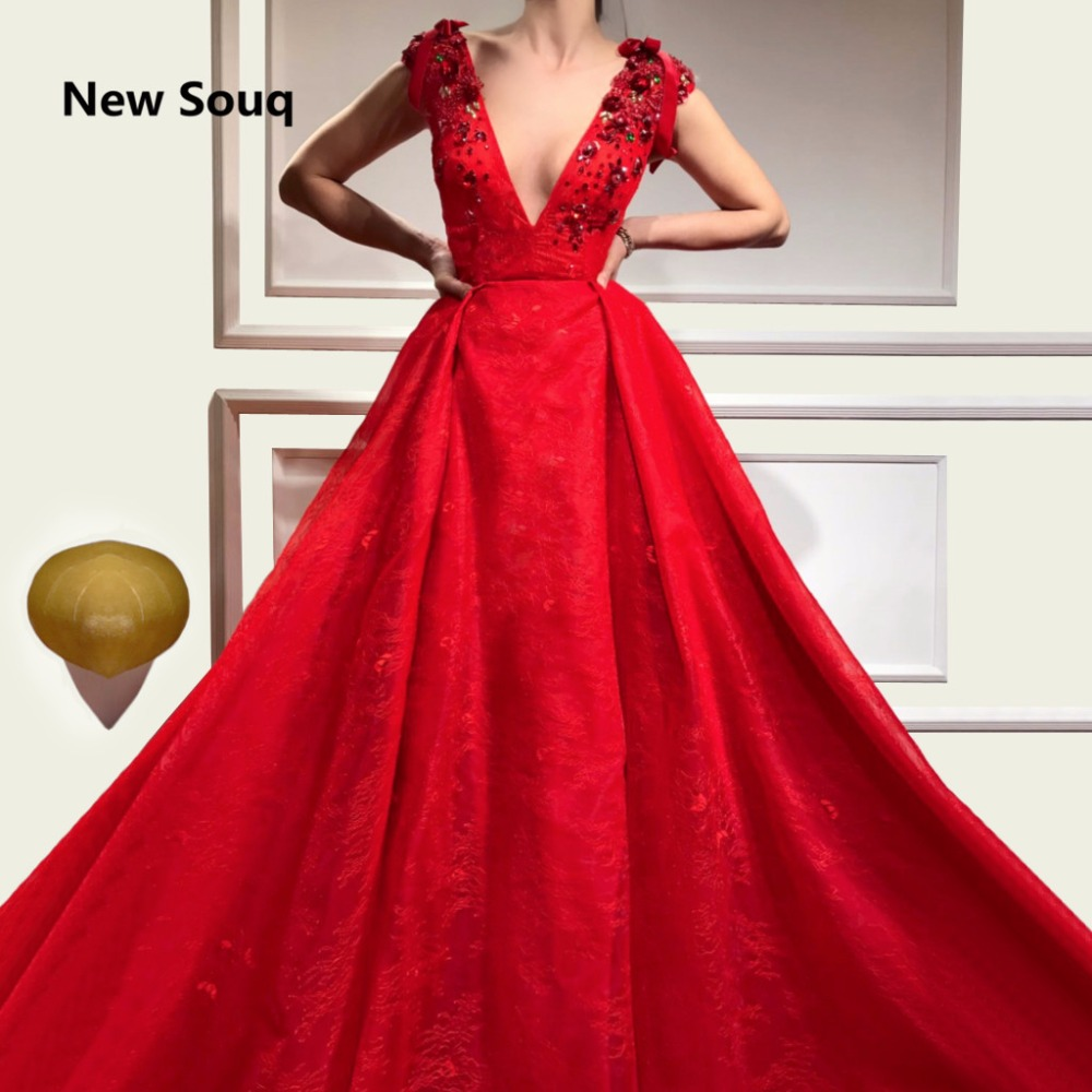Custom Made Red A-Line Lace Evening Dresses Sexy Deep V-neck Cap Sleeves Appliqued Evening Gowns Sweep Train Long Prom Dress
