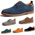 2016 Nueva Moda de Los Hombres Zapatos de Gamuza de Cuero Genuino Mocasines Bajo Zapatos de los planos Zapatos Casuales Zapatos Oxford Para Los Hombres Más El Tamaño 45,46, 47,48