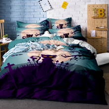 3D Skull Halloween Bedding Set Soft Polyester Cotton Bed Linen 3Pcs Duvet Cover Twin Full Queen King Size
