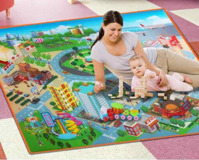 120*90 Cm Indah Lalu Lintas Police Peta Crawling Alas Bayi Permainan Alas Kota Jalan Karpet Tikar untuk Anak-anak mainan Mengembangkan Teka-teki
