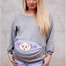 ac3229bc9 De moda de dibujos animados bebé embarazo T camisa ropa para mujeres  embarazadas con cremallera manga larga Primavera de materni.