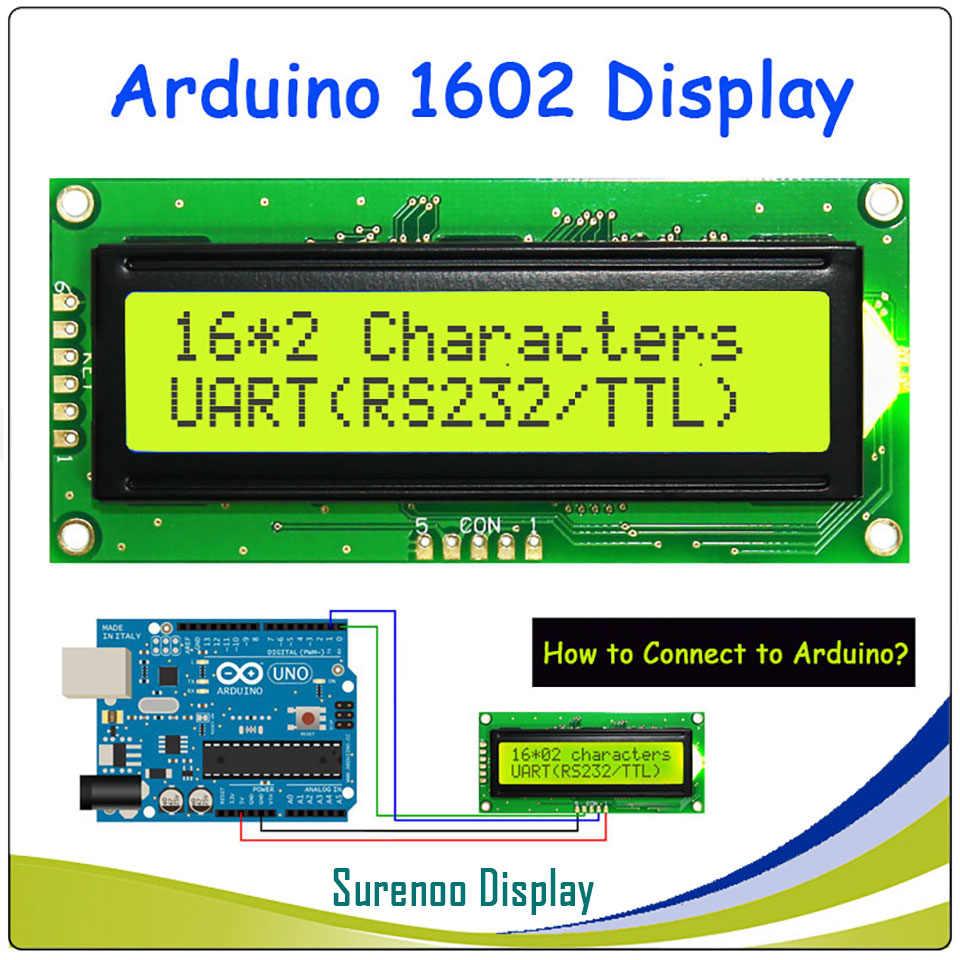 UART CMOS RS232 série 1602 162 16*2 caractère LCD Module écran d'affichage LCM pour Arduino, Support clavier bleu jaune vert