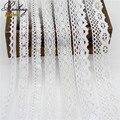 5yds/lot Высокое качество Бежевый/Белый Хлопок кружевной ткани нового прибытия, Вышитые Планки Ленты Для DIY Свадебные швейные Свадебные Одежды