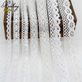 5yds/lot High quality Beige/White Cotton lace fabric new arrival,Embroidered Trims Ribbon For DIY Bridal Sewing Wedding Clothes