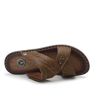 Image 4 - VASTWAVE Classics Summer Shoes Men Slippers Quality Split leather Sandals For Men Comfortable Flip Flops Men Beach Sandals