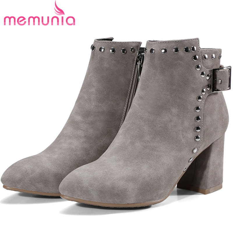 MEMUNIA Fashion boots in spring autumn zip rivets solid ankle boots for women high heels shoes woman big size boots female 34-42 memunia hot sale motorcycle boots in spring autumn high heels shoes woman ankle boots punk fashion boots female big size 34 45