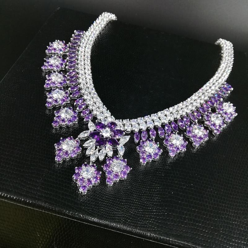 2019 noua moda de lux retro romantice violet flori violet colier - Bijuterii de moda - Fotografie 3