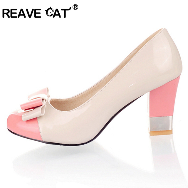 REAVE CAT Plus size 34-43 Hot 2017 Candy Color Women Pumps Shallow Color Block Thick High Heels Shoes Bowtie Pink Working Shoes