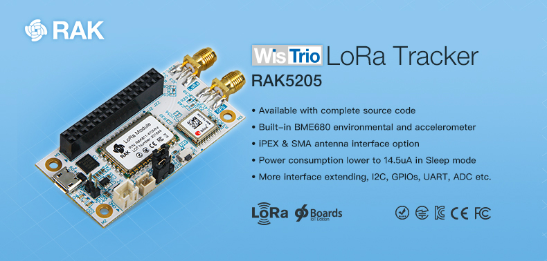 WisTrio Low Power LoRaWAN Tracker RAK5205 SX1276