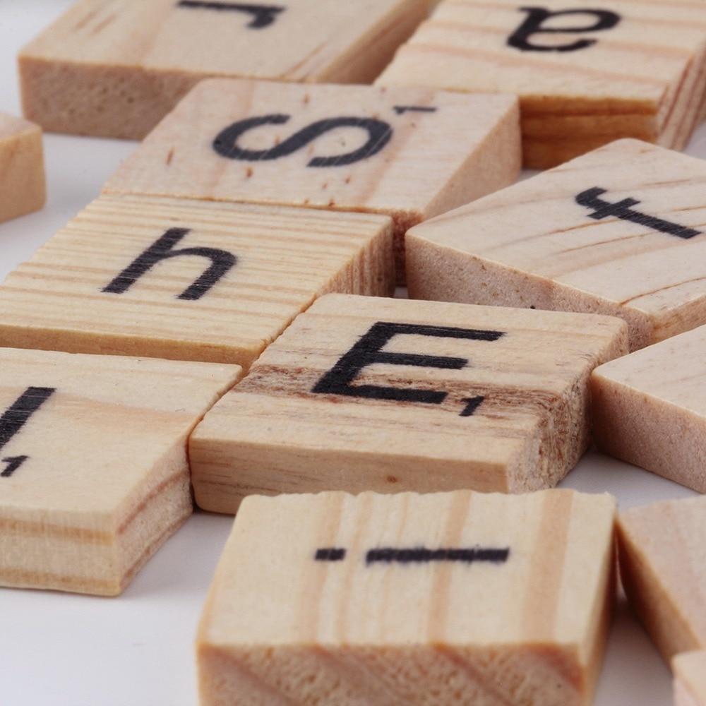 3sets Hot 100pcs/set Wooden Alphabet for Scrabble Tiles Black Letters & Numbers For Crafts Wood Brand