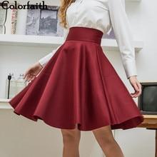 Новинка, модная женская хлопковая Свободная юбка до колена с большим зонтиком, высокая талия, винтажная Женская юбка миди Saia Skater, 7340