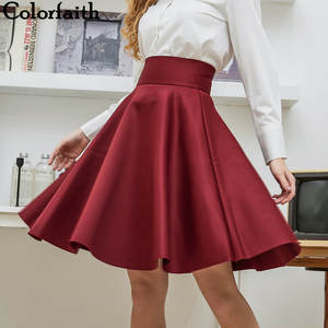 Skater Skirt Saia Midi Knee-Length Vintage High-Waist Cotton Women Ladies New-Fashion