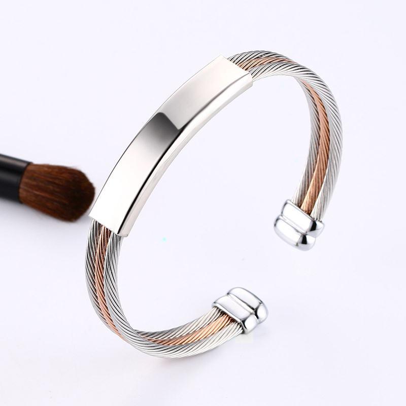 Men Women Cuff Bracelets Stainless Steel Triple Cable Wire Twisted ID Tag Open Bangle Bracelet Men Fashion Jewelry Free Engravin