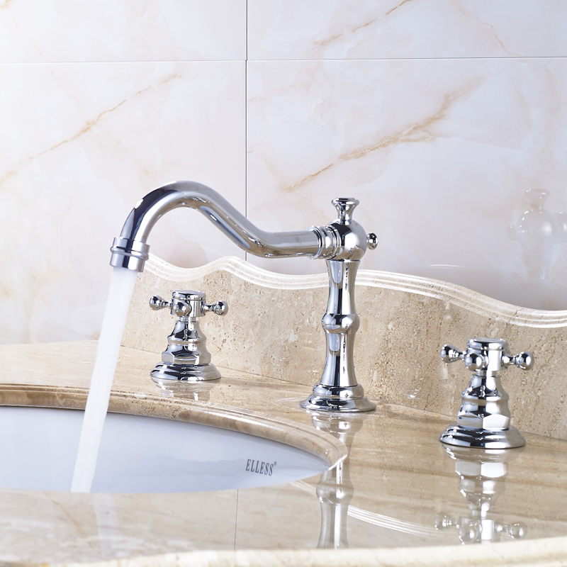 ФОТО Deck Mounted Bright Chrome Widespread Basin Sink Faucet Dual Handle Long Spout Water Taps