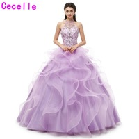 Lilac Girls Ball Gowm Quinceanera Dresses Halter Beading Top Ruffles Lace Up Back Sweet 15 16 Quinceanera Gowns 2019