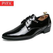 Fall 2019 Men's Bright Leather lace-up Suit Classic Business Leisure Top  cowboy style Leather Shoes Big yards Mature charm