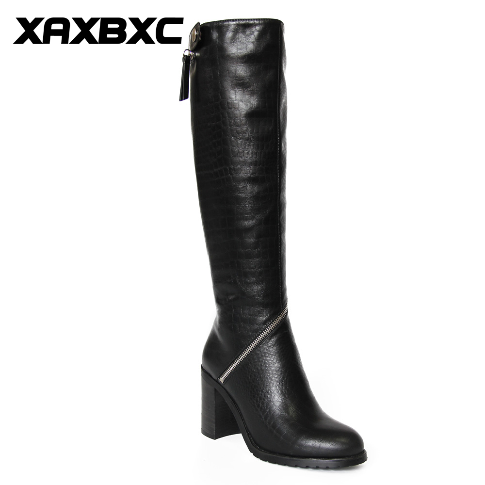 XAXBXC Retro British Style Pu Leather Plush Black Long Boots Women Boots Zipper Thick Heel Round Toe Handmade Casual Lady Shoes new arrival superstar genuine leather chelsea boots women round toe solid thick heel runway model nude zipper mid calf boots l63