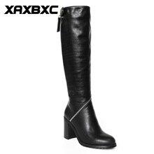 XAXBXC Retro British Style Pu Leather Plush Black Long Boots Women Boots Zipper Thick Heel Round Toe Handmade Casual Lady Shoes