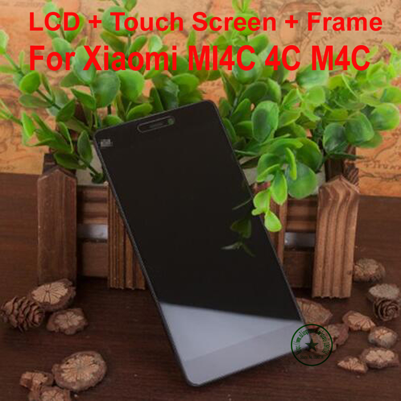 ФОТО 100% Tested Working LCD Display Touch Screen Digitizer Assembly with Frame For Xiaomi Mi4c Mi 4c M4c Phone Replacement Parts