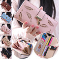 2017 Fashion Women Hollow Out Leaf Wallet Long PU Leather Purse Clutch Card Holder Wallets Popular