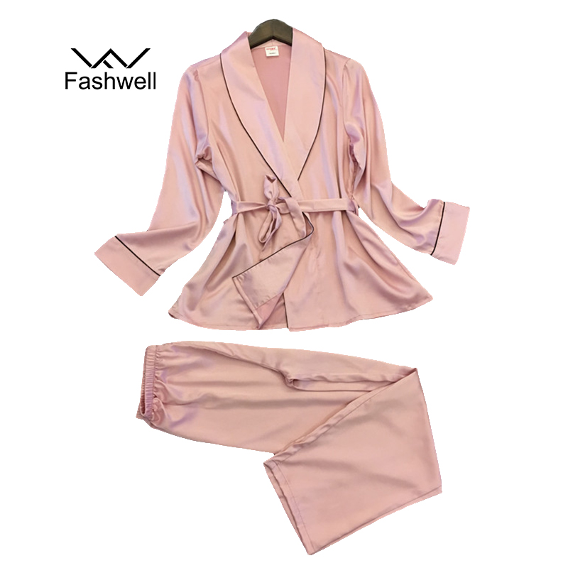 Elegant Ladies Silk Satin Sleepwear Long Sleeve Pijama Plus Size Pyjama Femme   Pajama     Set   V-neck Nightwear For Women