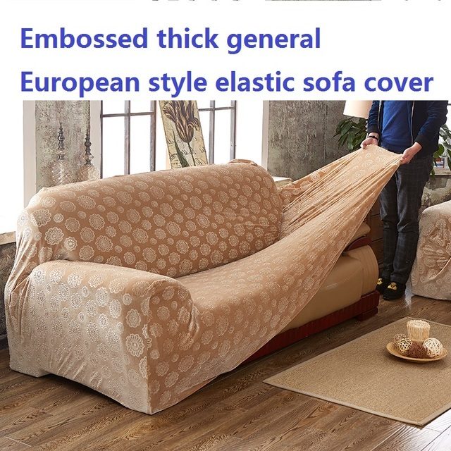 Embossed Printed Flower Thick Custom Sofa Cover General European Style Single Seat