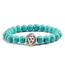 Man Natural Stone Bracelet Classic Charm Gold Sliver Lion Head Beads Turquoises Handmade Strand Bracelets for Men Sport Jewelry(China)