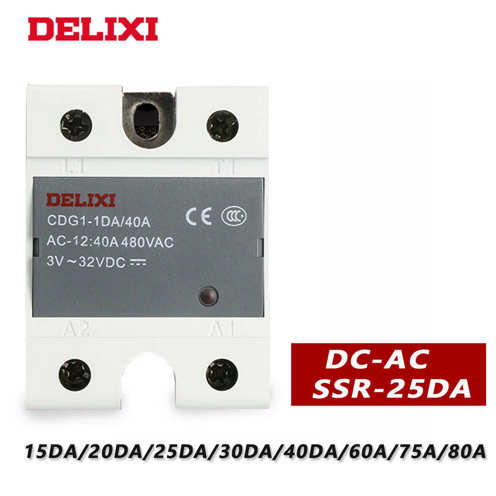 DELIXI solid state relay SSR-40DA <font><b>3</b></font>-32V <font><b>DC</b></font> TO <font><b>24</b></font>-480V <font><b>AC</b></font> Module single phase <font><b>DC</b></font> Control <font><b>AC</b></font> SSR with CE certificate image