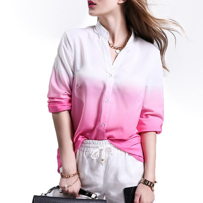 Autumn Women Casual loose Long Sleeve Gradient V-neck Chiffon Blouse Tops Shirt